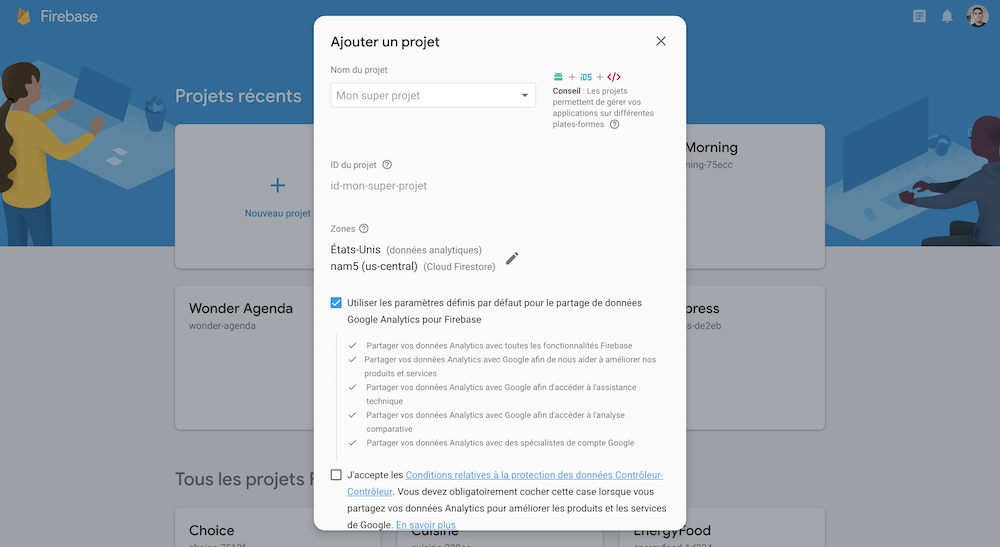 Comment créer un projet Firebase pour Ionic ?