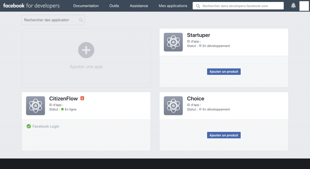Le site Facebook for developers