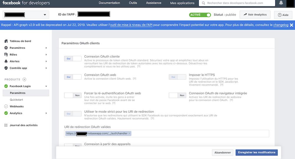 Les paramètres de Facebook Login où entrer l'URI de redirection