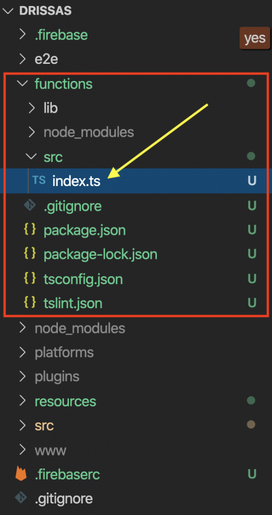 Ionic Firebase Cloud Functions index.ts
