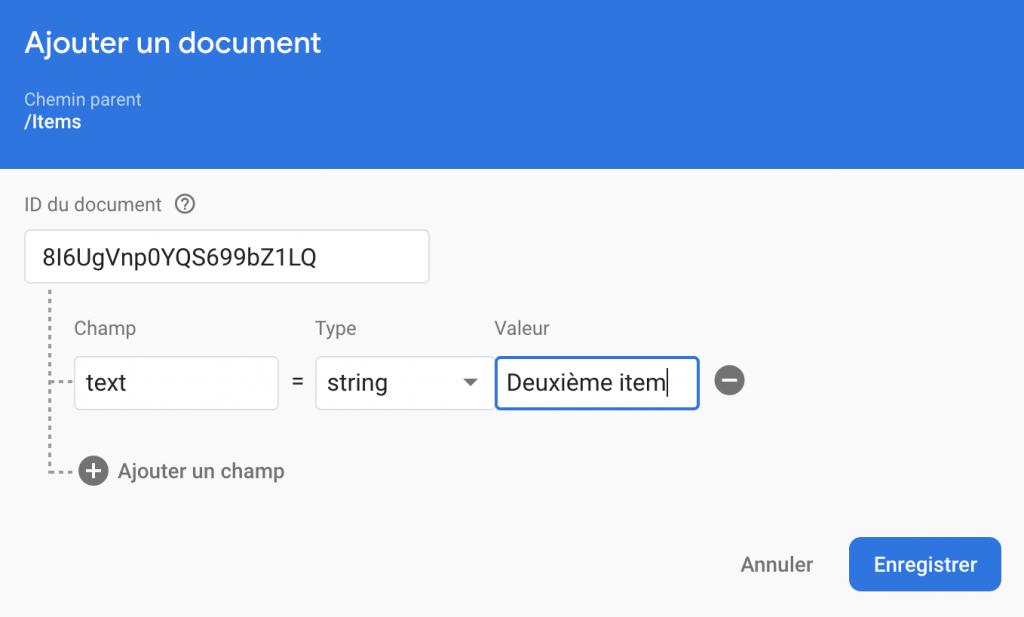 Ionic Cloud Firestore Add Document